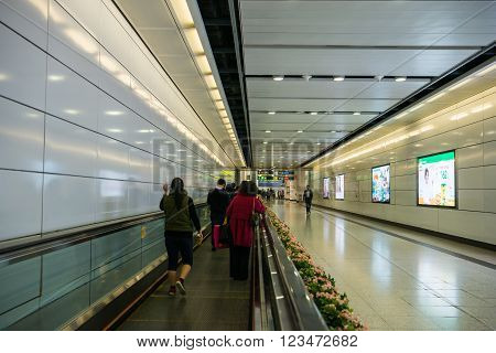 HONG KONG - MARCH 29: Subway train station on MARCH 29, 2016 in Central, Hong Kong. MTR is the most popular transport in Hong Kong