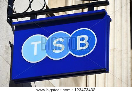 Doncaster, UK - march 14, 2016: The main logo sign on the wall of the Trustee Savings Bank.