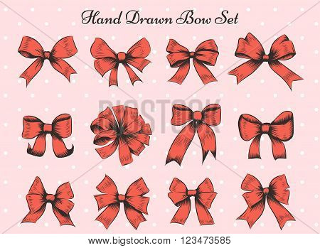 Set of twelve bows. Hand drawn red bows on polka dot background