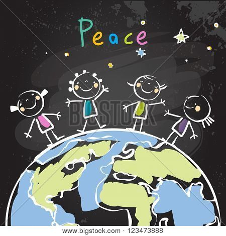 Group of kids, planet. Peace on earth, friendship, conceptual vector illustration. Chalk on blackboard doodle, sketch.
