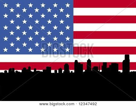 Seattle skyline and American flag illustration JPEG