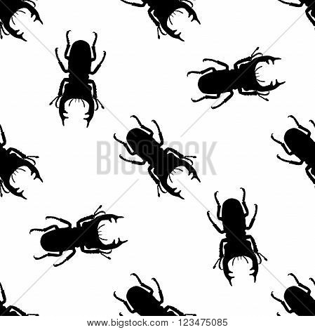 Seamless pattern with stag-beetle. Lucanus cervus. hand-drawn . Vector illustration