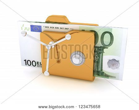 Computer icon for secure folder safe Pack Of 100 Euro Banknotes
