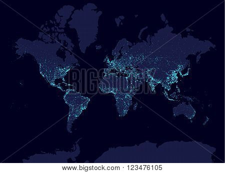 Earth at night world map, earth day concept, world population biggest cities. Glow infografic elements. Urbanization and globalisation idea. aqua neon luminanse. Hud elements
