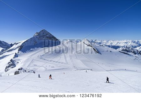 Ski slops on the top of the Hintertux glacier in the Austrian Alps. Height - 3250 meters above sea level.