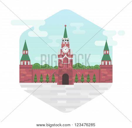 Moscow kremlin a symbol of Russia's capital vector flat illustration