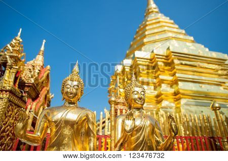 Wat Phra That Doi Suthep in Chiang Mai. This Buddhist temple founded in 1383 is the most famous in Chiang Mai.