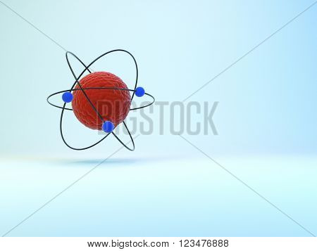 Model of atom with shadow on whie background, 3D