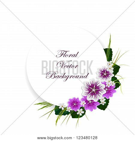 Floral vector background. Corner composition of mallows, white flowers, green leaves and herbs. White round banner with place for your text.