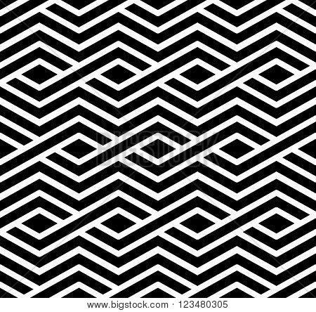 Contrast geometric seamless pattern with symmetric ornament. Rhombus graphic contemporary background.