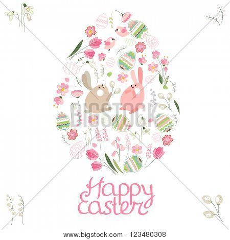 Spring set. Phrase Happy Easter. Painted eggs, spring flowers,tulips and rabbits. Objects for your design, festive greeting cards,  announcements, posters.
