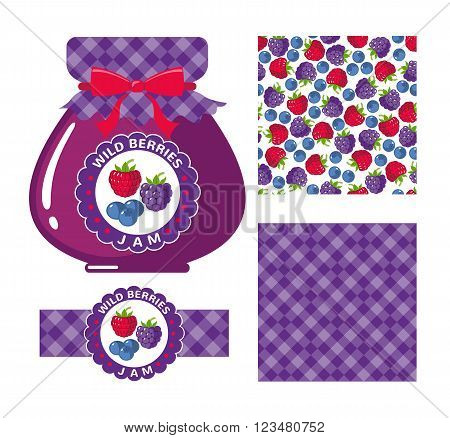 Wild berries jam collection. Set of paper labels and seamless patterns Gingham Ruspberry Blackberry and Blueberry on white background. Design for package, wrapping paper, textile. Vector illustration
