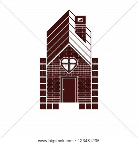 Family house abstract vector icon harmony and love concept. Simple building constructed with bricks architecture theme symbol.