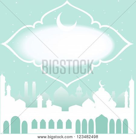 Greeting card in Arabic style. An Eastern city with minarets and Crescent on a green background