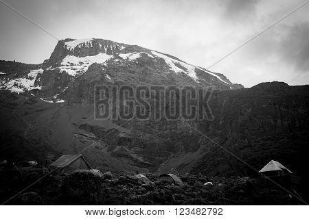 Kilimanjaro top view with snow, black and white