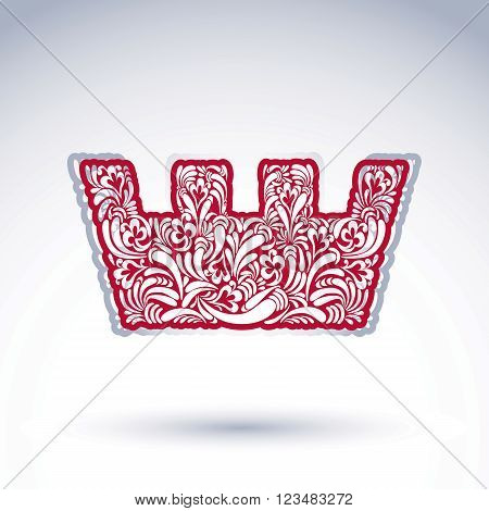 Flower-patterned imperial crown isolated on white background. Floral decorated majestic coronet imperial theme vector design element.