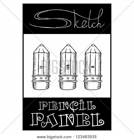 vector banner panel of different tools for artists