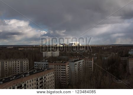 The Chernobyl nuclear power plant. View from Pripyat