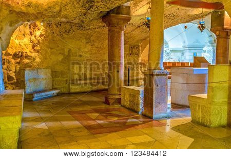 BETHLEHEM PALESTINE - FEBRUARY 18 2016: The small chapel located inside the Milk Grotto on February 18 in Bethlehem.
