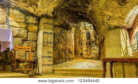 BETHLEHEM PALESTINE - FEBRUARY 18 2016: The chrypt in the cave under the Church of the Nativity is the holiest place in the city on February 18 in Bethlehem.