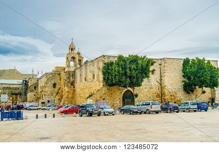 BETHLEHEM, PALESTINE - FEBRUARY 18, 2016: The Church of the Nativity is the main pilgrimage site of the city on February 18 in Bethlehem.