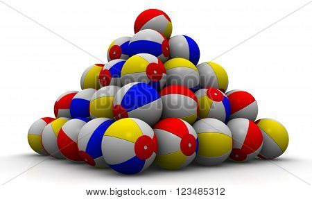 Baby colorful balls piled in form of pyramid on a white surface. Play game sport beach color round sphere summer activity balloon air. Isolated. 3D illustration