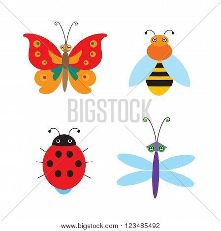 Set Of Simple Flying Bugs. Vector Ladybug. Vector Dragonfly. Vector Butterfly. Vector Bee. Cartoon Bugs For Children. Flying Bugs In House. Live Insects. Insects Toys. Insects For Kids.