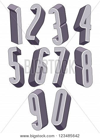 3d tall condensed numbers set monochrome numerals for advertising and web design.
