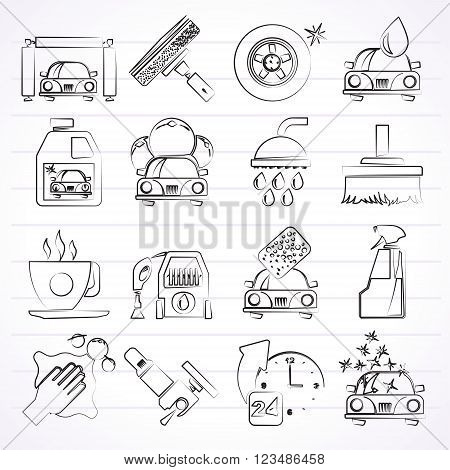 Professional car wash objects and icons - vector icon set