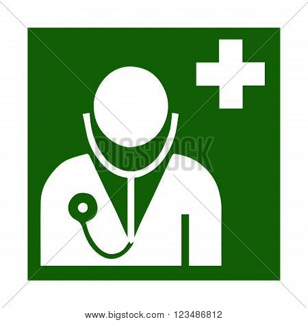 Vector fire emergency icons. Signs of evacuations. Emergency medicine call in green. Chest. Doctor.