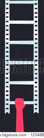 Hand holds the ladder in the form of a filmstrip. Filmmaker's career start concept illustration.