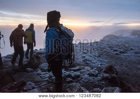 Kilimanjaro, Tanzania - January 20, 2016: Trekkers on the top of Kilimanjaro on January 20, 2016 in Kilimanjaro, Tanzania