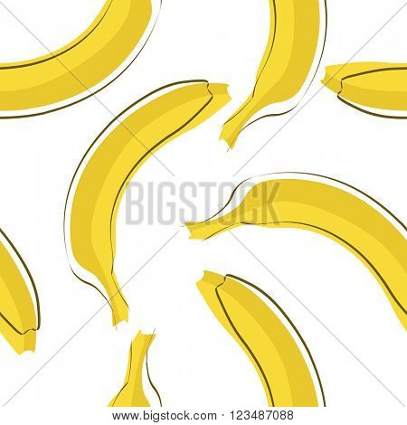 Seamless stylish pattern with fresh yellow bananas in flat style. Bananas pattern for cloth, textile, wrap, tshirt, bermudas and other design.