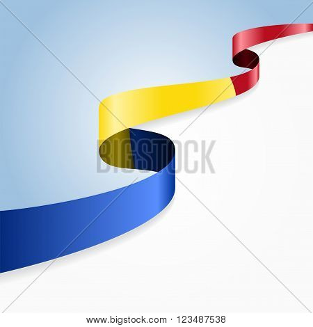 Romanian flag wavy abstract background. Vector illustration.