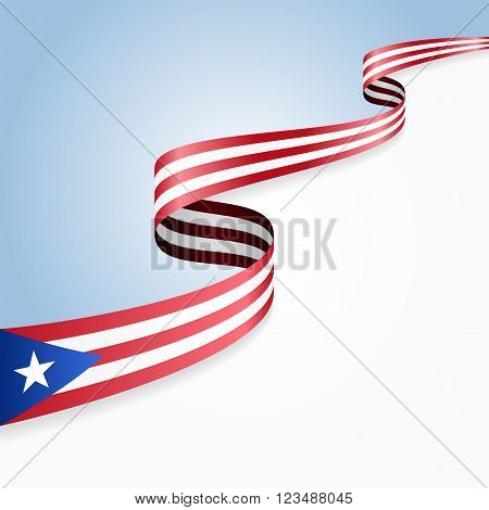 Puerto Rican flag wavy abstract background. Vector illustration.