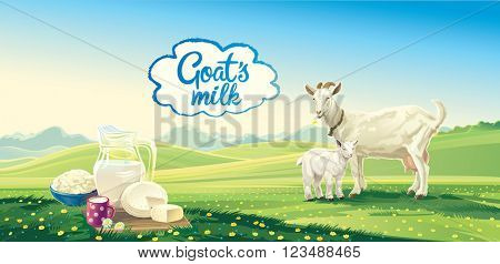Country landscape with goat and set dairy product. Vector illustration.