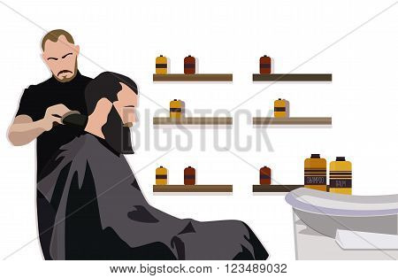 Client visiting hairstylist in barber shop vector illustration