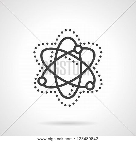 Abstract simple model of particle move and interaction. Physics sign. Science and education theme. Vector icon simple black line style. Single design element for website, business.