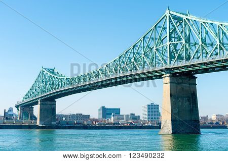 Jacques-Cartier Bridge and St-Lawrence River in Montreal