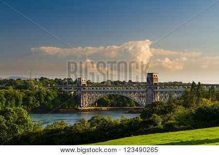Robert Stephenson Britannia Bridge carries road and railway across the Menai Straits between Snowdonia and Anglesey. Wales United Kingdom
