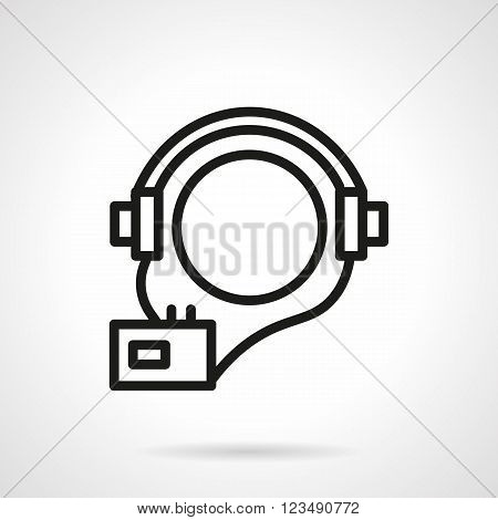 Ball shaped abstract head with headphones and player. Audio courses symbol. Audio book. Vector icon simple black line style. Single design element for website, business.