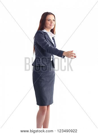Young business woman ready to handshake standing in office