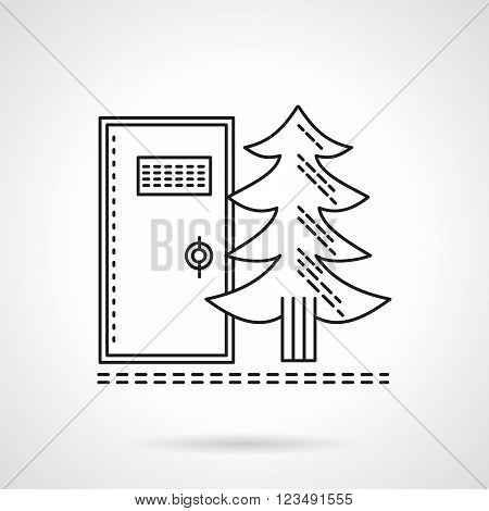Fir-tree and wc door. Camping or hiking services. Outdoors toilet, bio toilet. Rest at nature. Vector icon flat thin line style. Element for web design, business, mobile app.