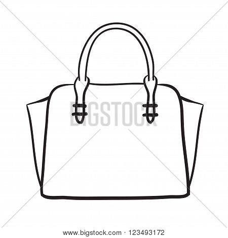 Woman Handbag Hand Drawn Vector Fashion Illustration .