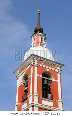 Bell tower of Holy Great Martyr and Healer Panteleimon church in St.Petersburg Russia.
