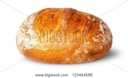 In front loaf of white round bread isolated on white background