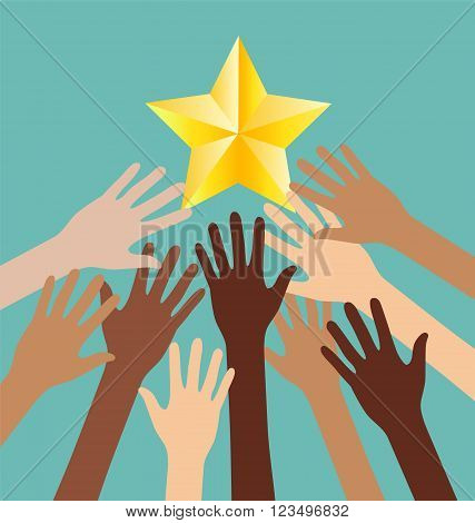 Group of Diversity Hand Reaching For The Stars Success Metaphor