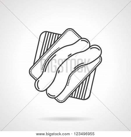 Sweet creamy striped biscuit cookie. Desserts menu for cafe, sweet shop, pastry. Vector icon flat thin line style. Element for web design, business, mobile app.