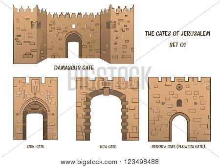 Four gates of the Old City of Jerusalem set 1. Raster illustration
