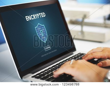 Encrypted Data Privacy Online Security Protection Concept